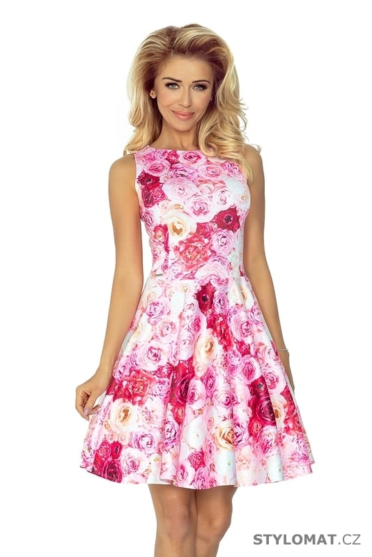 83fc506b3 Květované dámské šaty růžové - Numoco - Krátké letní šaty