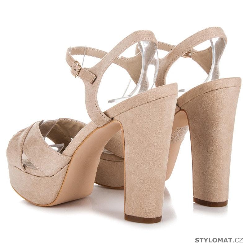 54013c42b ... Sandále /; Vysoké sandály na sloupku a platformě béžové. Previous; Next