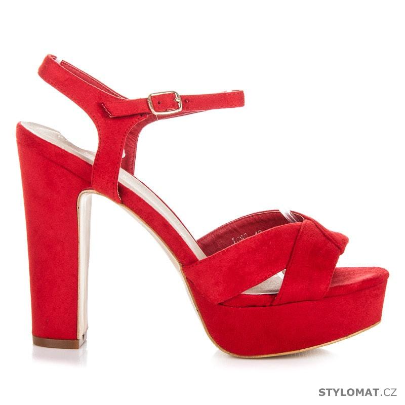 9ea6569eb ... Sandále /; Vysoké sandály na sloupku a platformě červené. Previous; Next