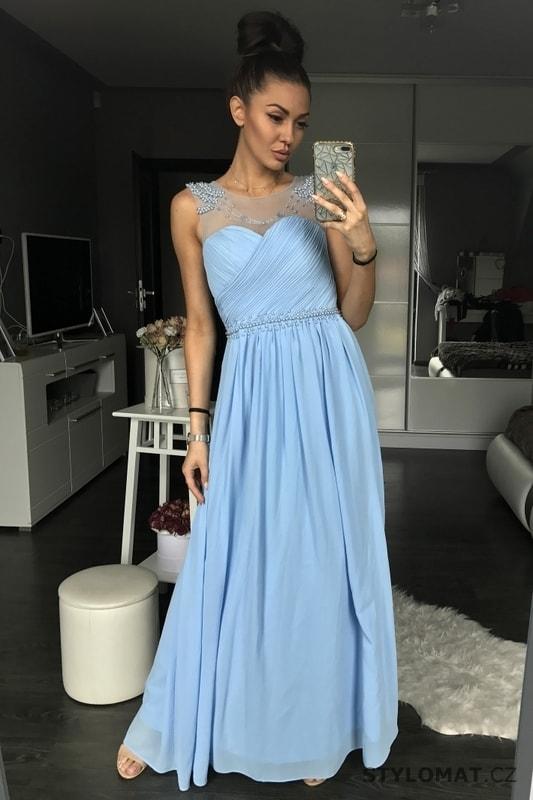 55fdc969d5b4 Dámské plesové šaty světle modré - Eva Lola - Dlouhé společenské šaty