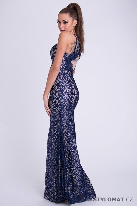 1a841b483582 Dlouhé plesové šaty s krajkou modré - Your New Style - Dlouhé společenské  šaty