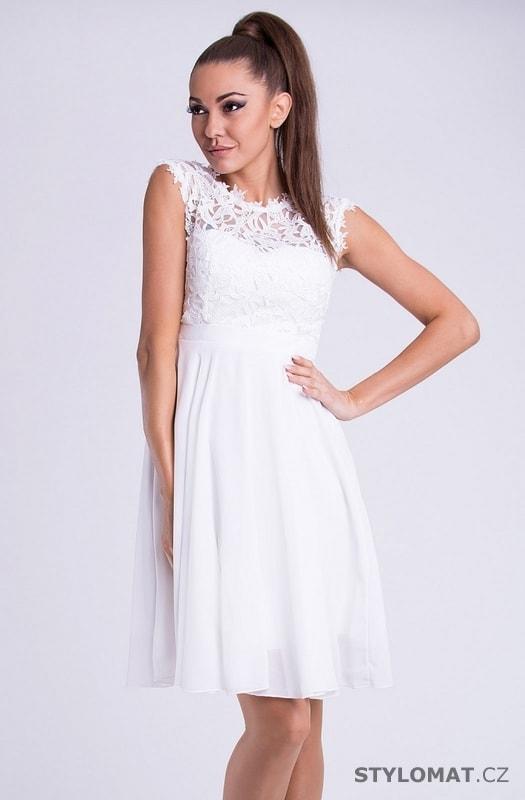 bf60353cc7f3 Krátké společenské šaty s krajkovým vrškem bílé - Emamoda - Krátké  společenské šaty