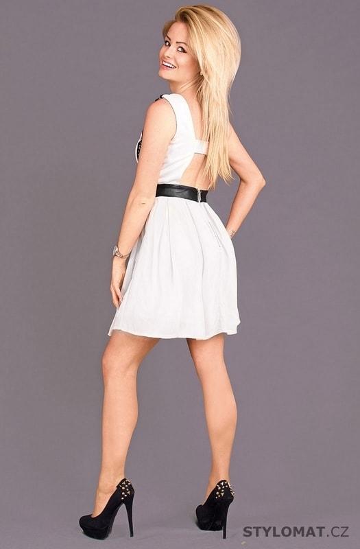 3c3df939e567 Dámské společenské šaty s krajkou bílé - Emamoda - Krátké společenské šaty