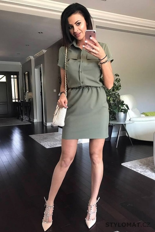 24c9168afb87 Dámské košilové šaty khaki - YNS - Krátké letní šaty