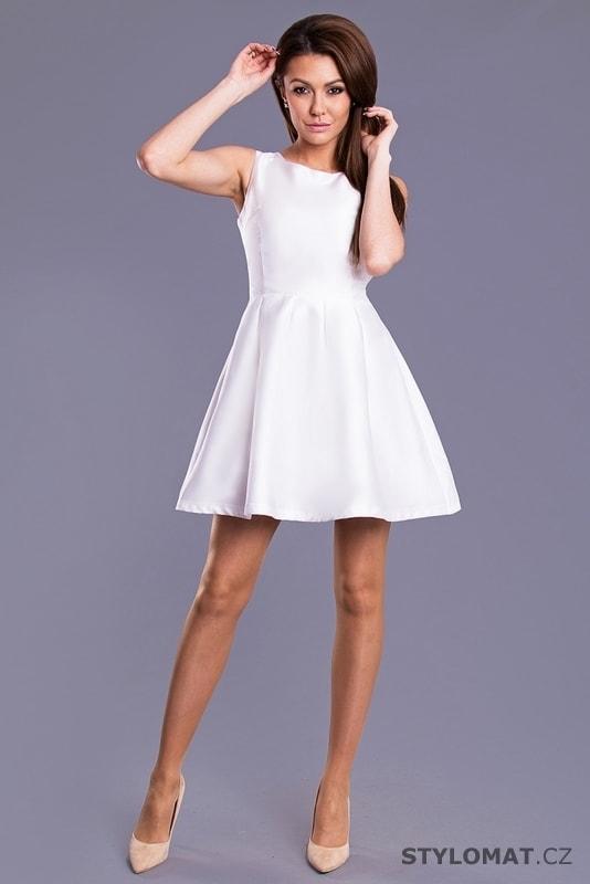 785821a59c98 Dámské šaty s mašlí na zádech bílé - Drole de Copine - Krátké společenské  šaty