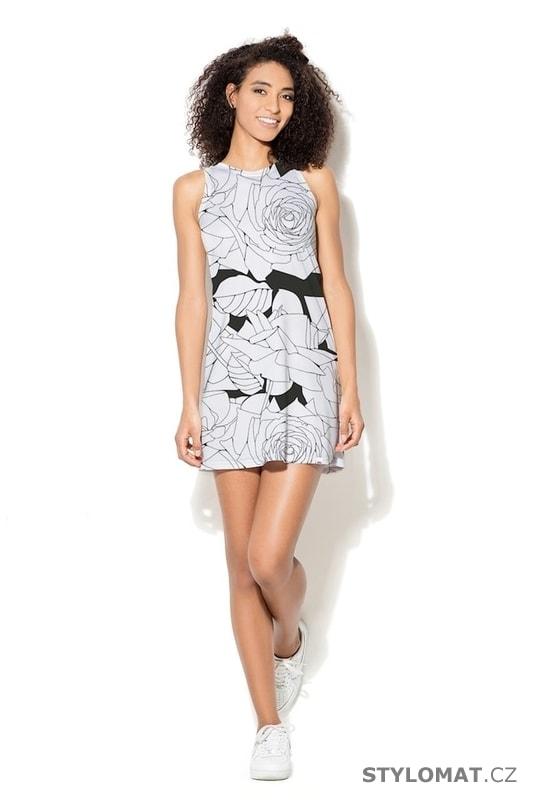 869c32397 Dámské černobílé letní šaty - Katrus - Krátké letní šaty