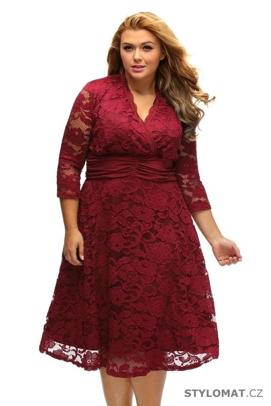 e7758967409a Krajkové šaty pro plnoštíhlé - Damson - Krátké společenské šaty