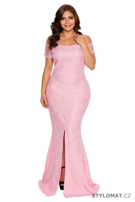 ee802bf25bb1 Růžové plesové šaty pro plnoštíhlé - Damson - Dlouhé společenské šaty