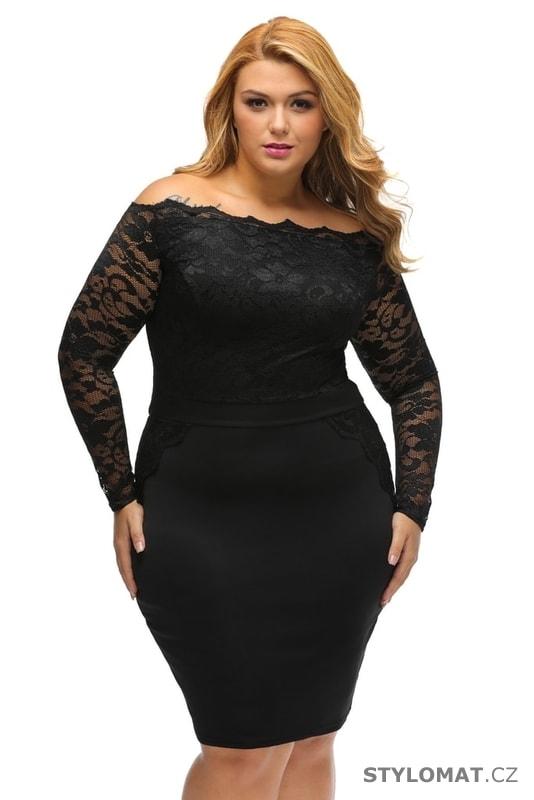 147037efe098 Černé společenské šaty pro plnoštíhlé - Damson - Šaty