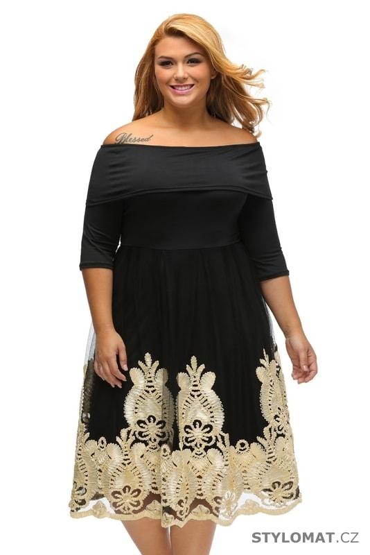 027613eeea08 Šaramantní společenské šaty pro plnoštíhlé - Damson - Krátké společenské  šaty