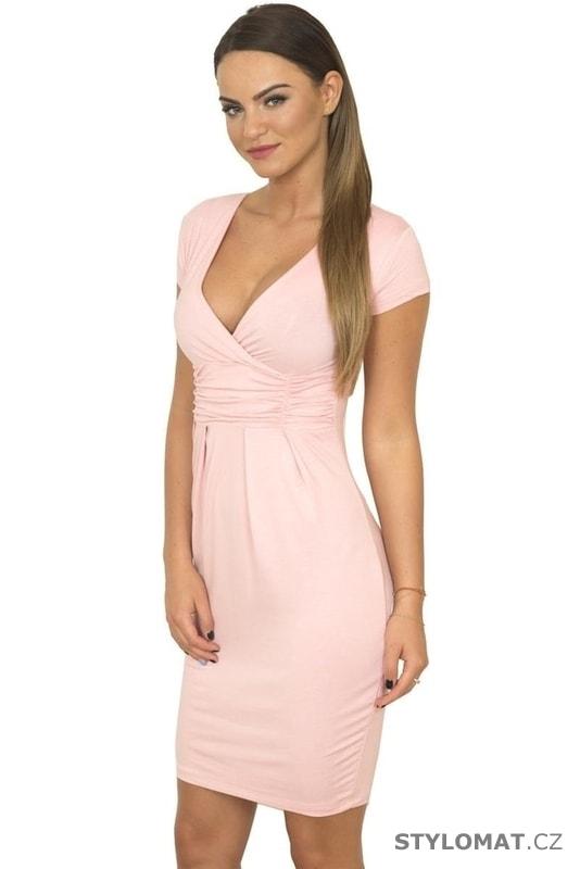 a1f16c34b283 Dámské elegantní šaty růžové - Kesi - Krátké společenské šaty