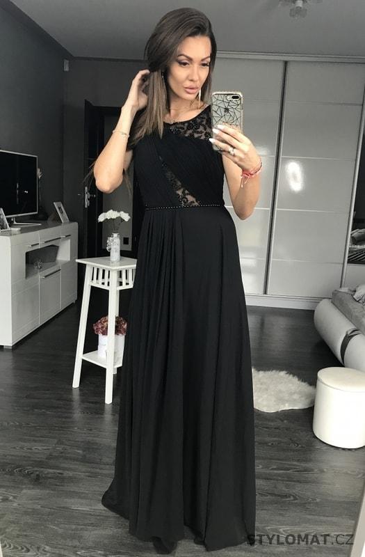 7d7e788ee605 Dlouhé plesové šaty s krajkovou vsadkou černé - Eva Lola - Dlouhé ...
