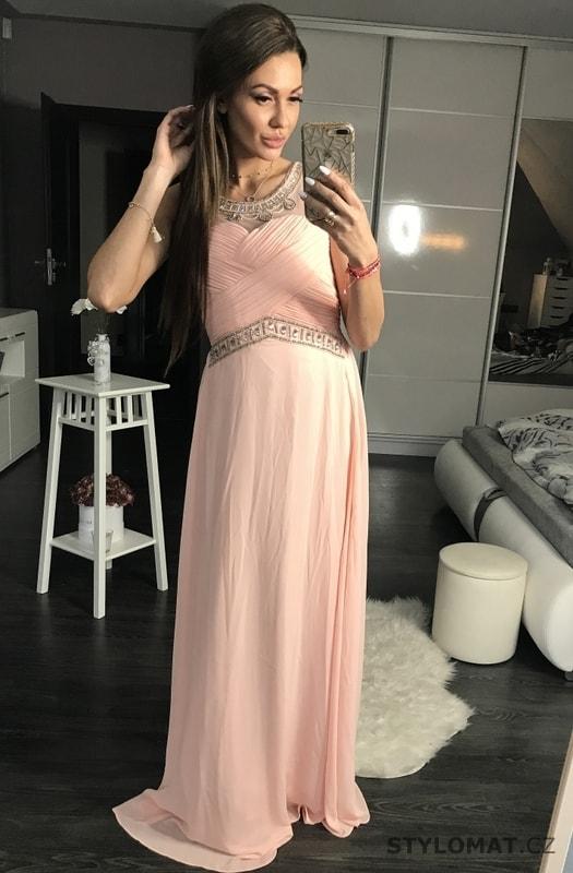 92cb39cdf6ae Luxusní dlouhé plesové šaty světle růžové - Eva Lola - Dlouhé ...