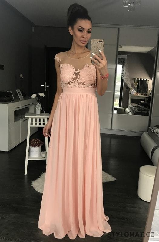 fa4a51891 Dámské večerní šaty s krajkou růžové - Eva&Lola - Dlouhé společenské ...