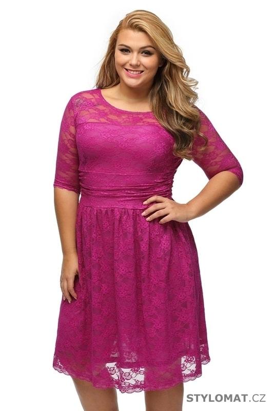 33814a084237 Růžové krajkové dámské šaty pro plnoštíhlé - Damson - Krátké společenské  šaty