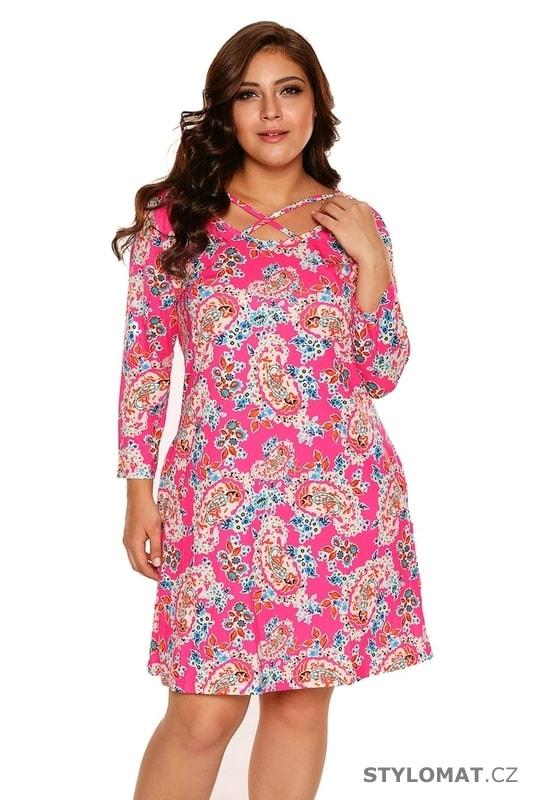 92afda71b Letní květované šaty pro plnoštíhlé - Damson - Krátké letní šaty