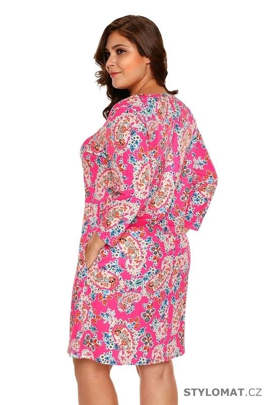 a15d7092c Letní květované šaty pro plnoštíhlé - Damson - Krátké letní šaty