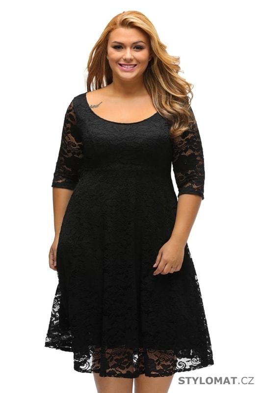 b8dc9f505789 Krajkové večerní šaty pro plnoštíhlé černé - Damson - Šaty