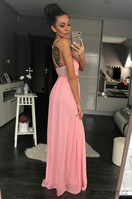 68494c518f6d Dvoudílné maxi šaty růžové - Pink BOOm - Dlouhé společenské šaty