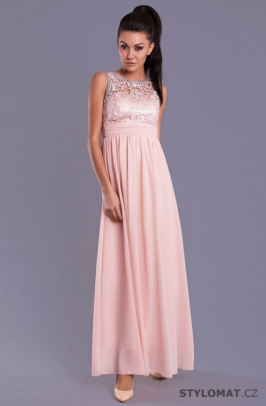 7bd067f4fb2e Elegantní dlouhé plesové šaty světle růžové - Eva Lola - Dlouhé ...