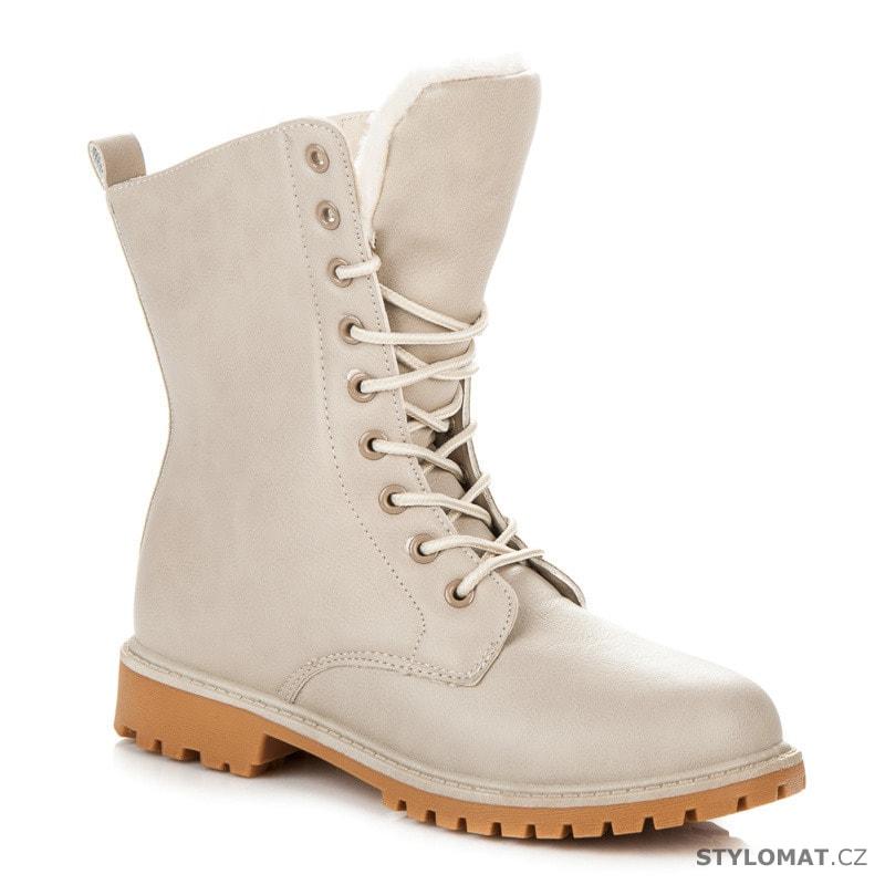 e5516289e75f Vysoké dámské trapery béžové - SUPER ME - Kotníčkové boty