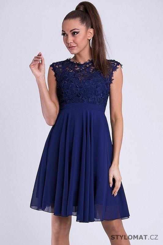 aaa59e18321b Dámské koktejlky s krajkou modré - Emamoda - Krátké společenské šaty