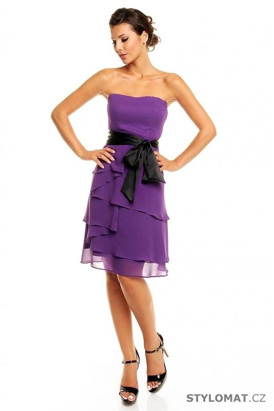 f0f7ca4eca9f Dámské plesové šaty s mašlí fialové - Mayaadi - Krátké společenské šaty