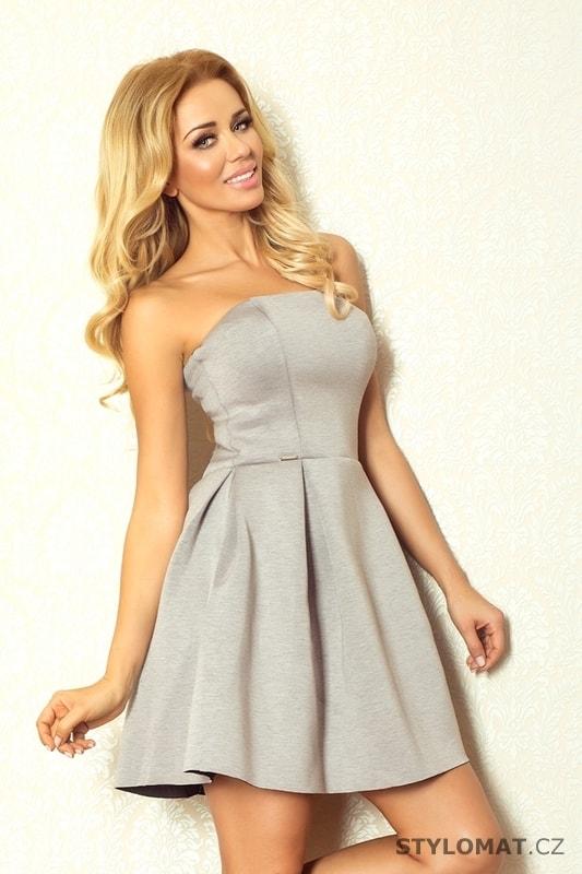 512ca7b7274a Šedé korzetové šaty z pěnového materiálu - Numoco - Krátké společenské šaty