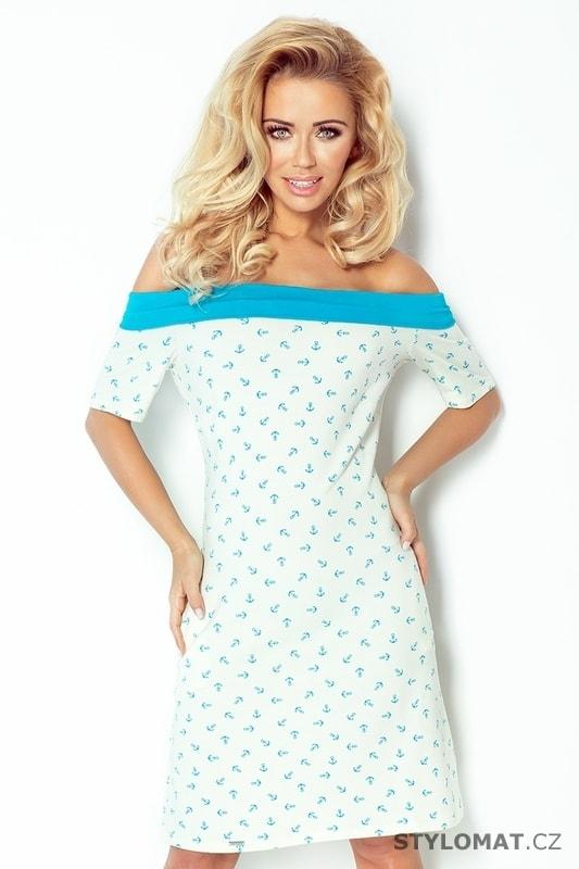 5dfa6d3307f6 Modré námořnické šaty se vzorem - Numoco - Krátké letní šaty