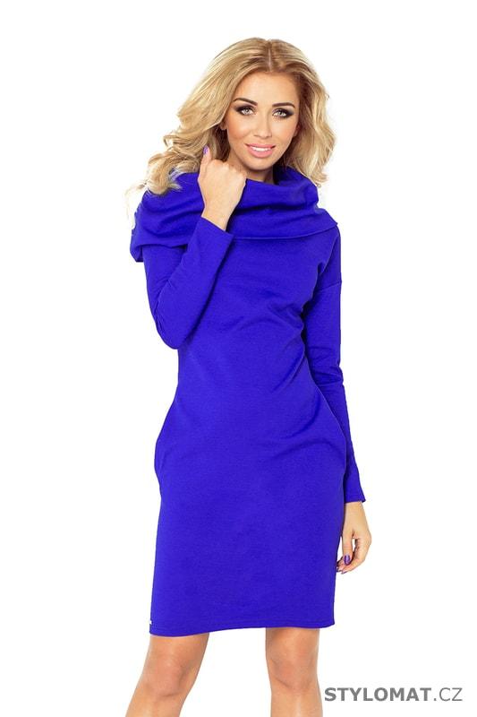d2ef6503bccd Modro fialové dámské šaty s dlouhým rukávem - Numoco - Úpletové šaty