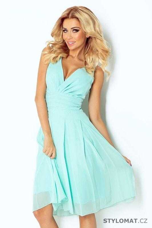 a95d41086fb6 Krásné mátové šifonové šaty s hlubokým výstřihem - Numoco - Krátké  společenské šaty