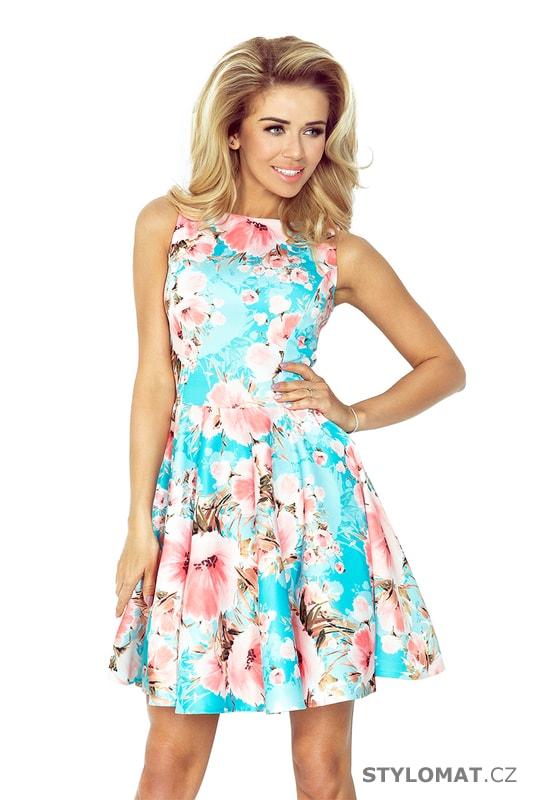 8ff1ce9763d9 Modré šaty s výstřihem do V a broskvovými květy - Numoco - Krátké letní šaty