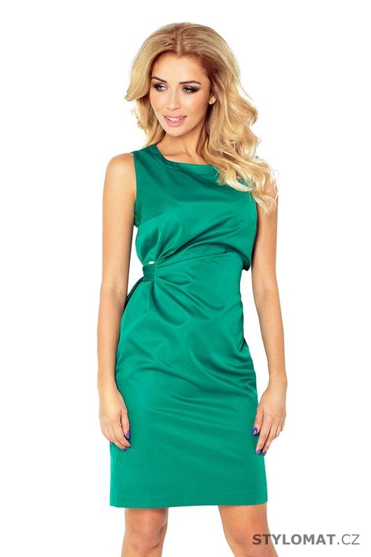e52b8c369400 Zelené saténové šaty se stuhou v pase - Numoco - Krátké společenské šaty