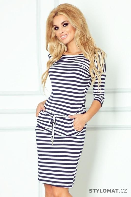 ede479ede Tmavě modré sportovní šaty s pruhy - Numoco - Sportovní šaty