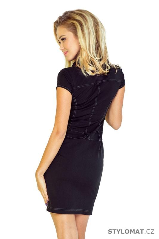 07cd97d26571 Originální černé šaty s krátkým rukávem