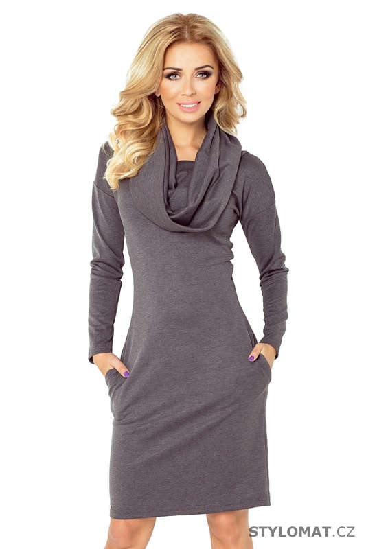 ab69b4008b4e Tmavě šedé dámské šaty s vodou - Numoco - Úpletové šaty