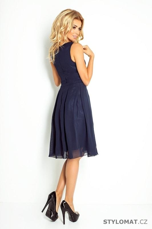 4fc496a66bd8 Tmavě modré šifónové šaty - Numoco - Krátké společenské šaty