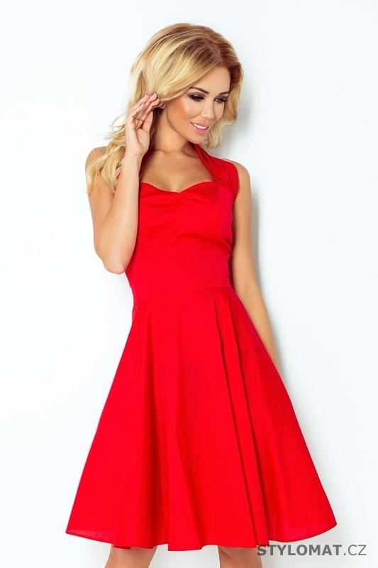 cac47aeed617 Červené šaty s širokou sukní - Numoco - Krátké společenské šaty
