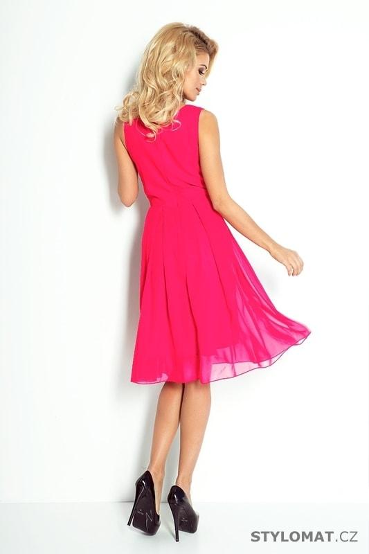 5fe9c4630132 Růžové šifónové šaty - Numoco - Krátké společenské šaty