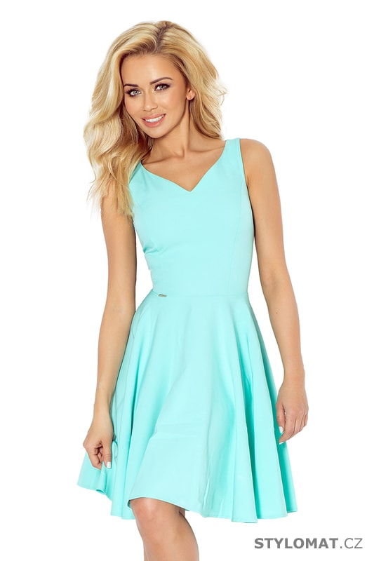 a6db9fbdb8c9 Krásné mátové šaty na ramínka s kolovou sukní - Numoco - Krátké letní šaty