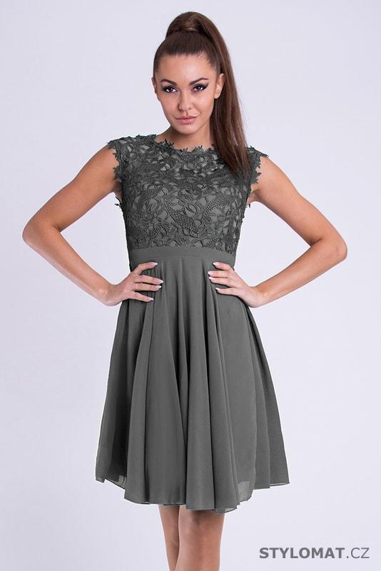 9d91d14a0eac Dámské koktejlky s krajkou šedé - Eva Lola - Krátké společenské šaty