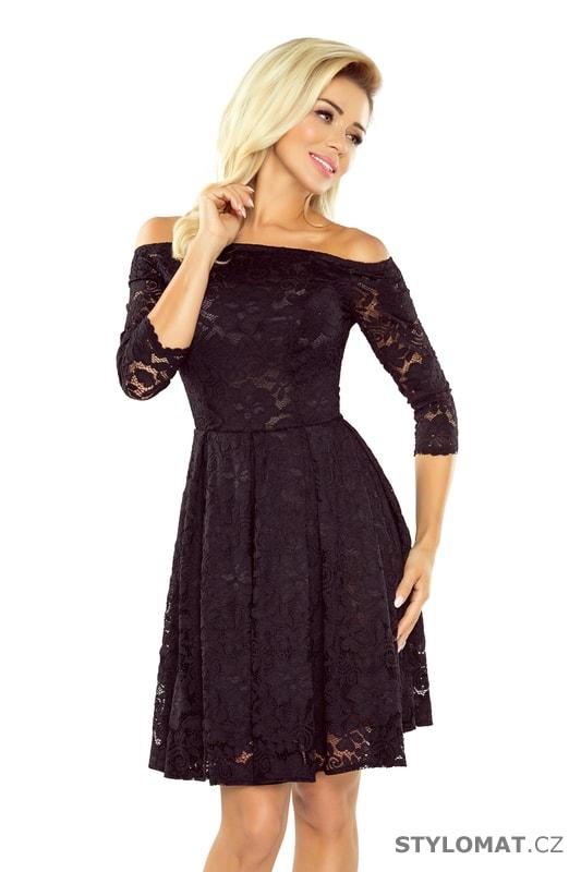 767e3cf97e53 Šaty s holými rameny a černou krajkou - Numoco - Krátké společenské šaty
