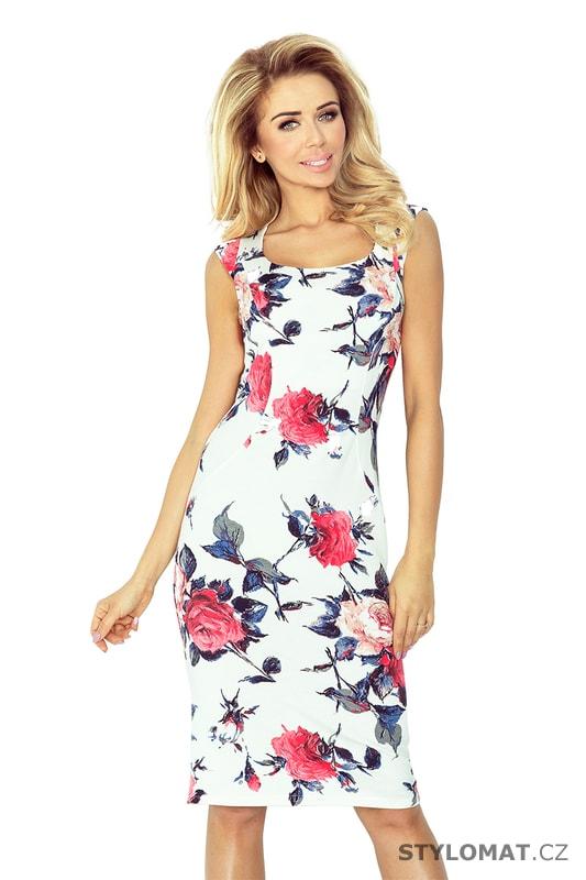 ff1d6c8ff Vypasované šaty s potiskem květin - Numoco - Krátké letní šaty