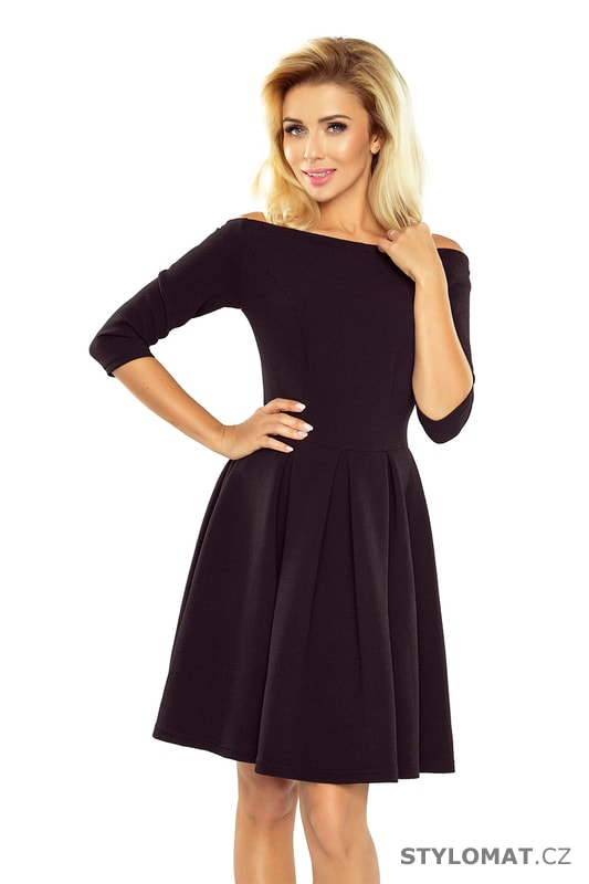 5249bde7499a Šaty s holými rameny v černé barvě - Numoco - Krátké společenské šaty