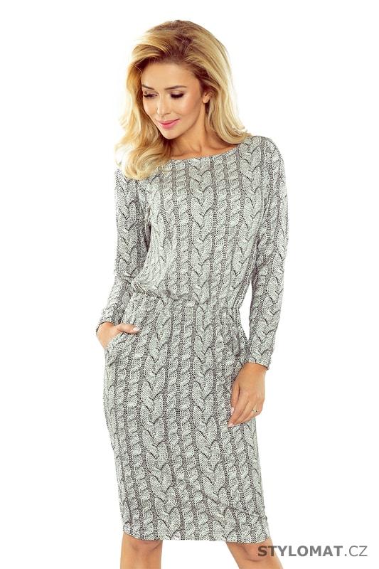 852242051 Pohodlné šaty s potiskem pleteného vzoru - Numoco - Úpletové šaty