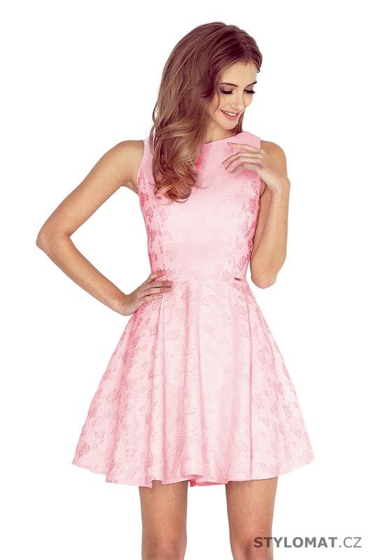 d8ded441b669 Šaty s kolovou sukní a lodičkovým výstřihem světle růžové - Numoco - Krátké  společenské šaty