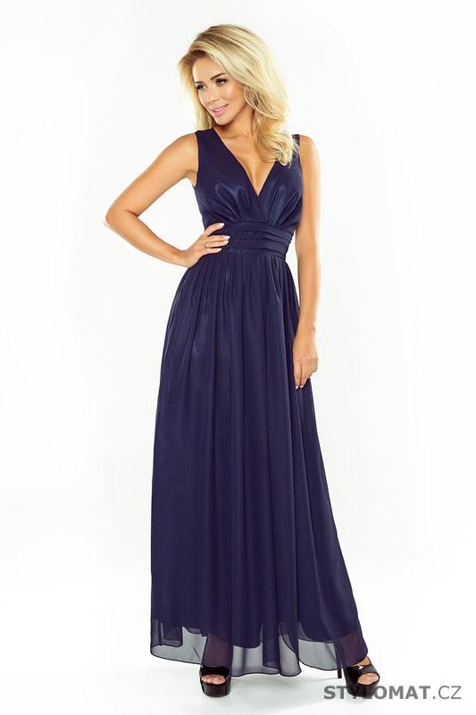 7250f551d71a Maxi šifónové šaty tmavě modré - Numoco - Dlouhé společenské šaty