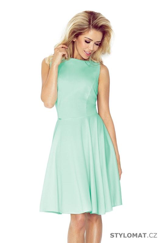9b38efe76a5e Šaty s kolovou sukní a lodičkovým výstřihem mátové - Numoco - Krátké  společenské šaty