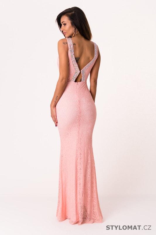 85cf7a98bd09 Dlouhé večerní šaty se zdobením růžové - Soky Soka - Dlouhé ...