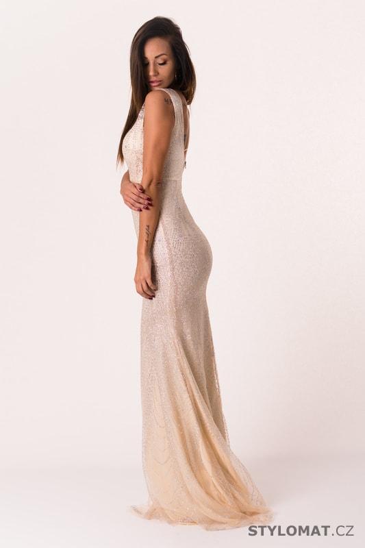 64d4b4e60662 Dlouhé večerní šaty krémové - Soky Soka - Dlouhé společenské šaty